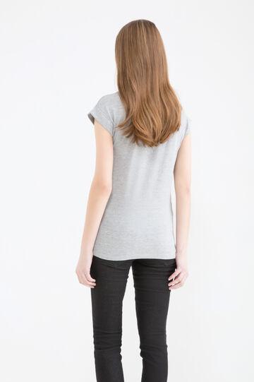 Lace effect printed T-shirt, Grey Marl, hi-res