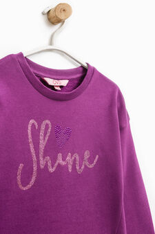100% cotton sweatshirt with glitter print, Plum, hi-res