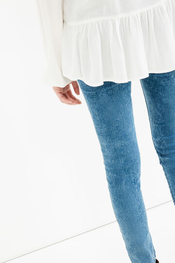 Ripped, skinny-fit jeans with misdyed effect., Medium Wash, hi-res