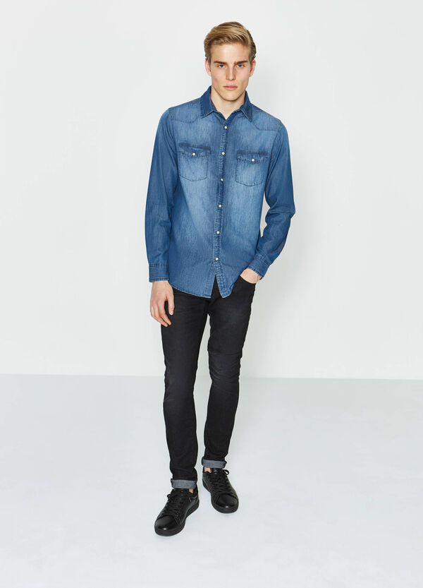 Casual denim shirt with faded effect | OVS