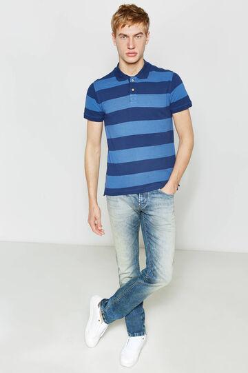 Polo in puro cotone fantasia a righe, Blu/Azzurro, hi-res