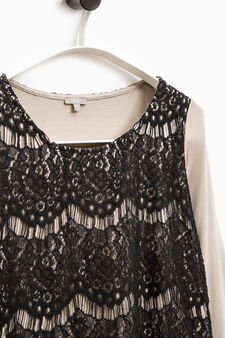Smart Basic T-shirt with lace insert, Brown, hi-res