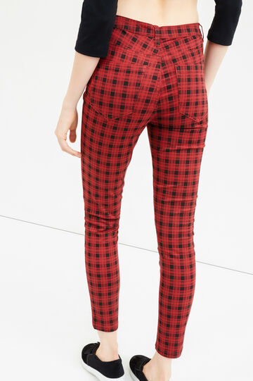 High-waisted check stretch trousers, Black/Red, hi-res