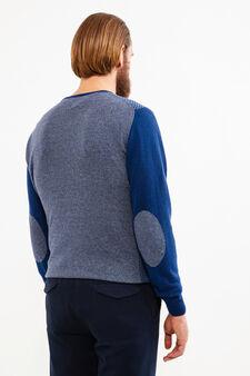 Cashmere blend Rumford pullover with pattern, Denim, hi-res