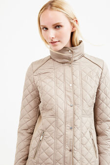 Down jacket with high collar and pull-out hood, Grey, hi-res