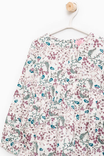 100% viscose floral shirt, Milky White, hi-res