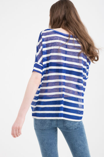 Striped T-shirt in 100% cotton, Navy Blue, hi-res