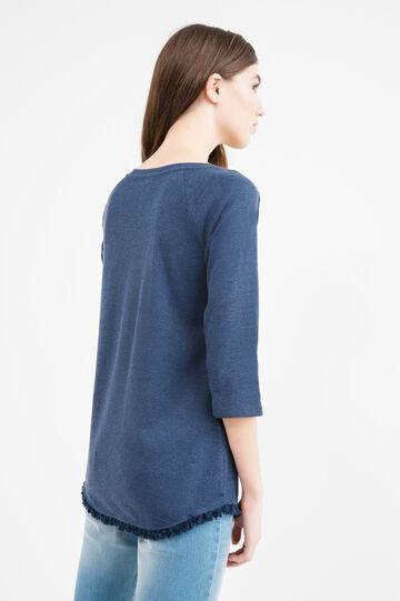 T-shirt puro cotone con frange, Blu navy, hi-res