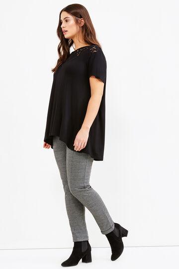 Curvy stretch viscose T-shirt with lace, Black, hi-res