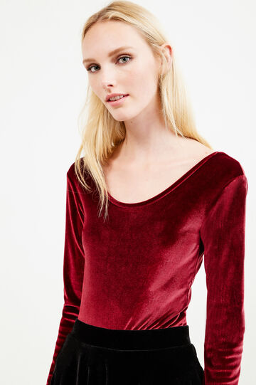 Long-sleeved chenille bodysuit, Claret Red, hi-res
