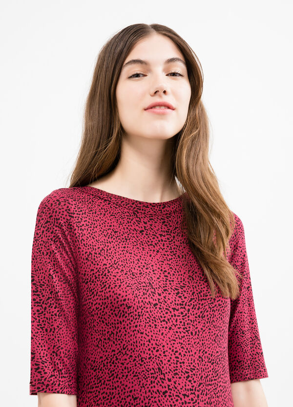 Patterned T-shirt in stretch viscose | OVS