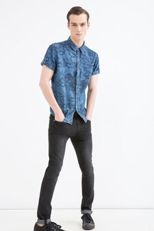 Slim-fit patterned shirt, Denim, hi-res