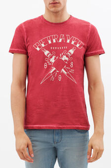 Printed T-shirt with contrasting stitching., Red, hi-res