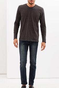 Long-sleeved T-shirt with V neck, Dark Grey, hi-res