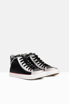 High-top patterned sneakers, Multicolour, hi-res