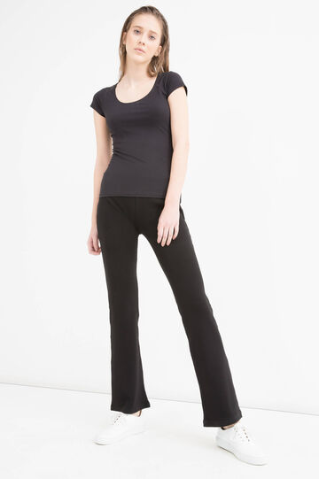 Stretch cotton flared trousers, Black, hi-res