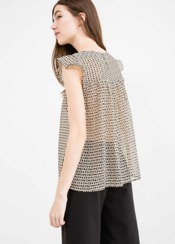 Georgette blouse with flounces | OVS