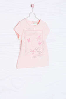 T-shirt stretch stampata con strass, Rosa, hi-res