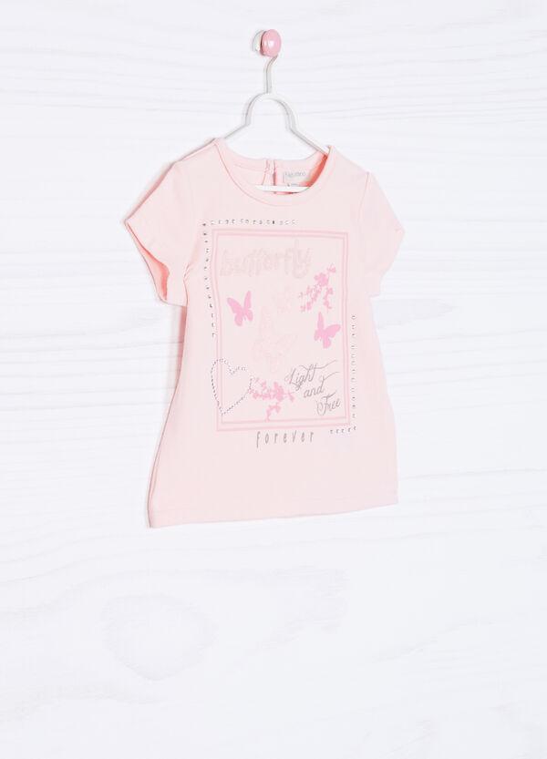 Diamanté stretch printed T-shirt | OVS