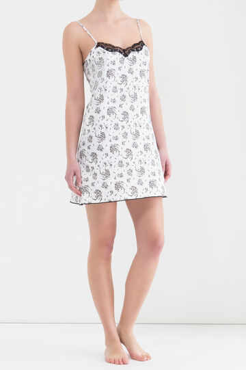 Camicia da notte stretch stampata, Nero/Bianco, hi-res