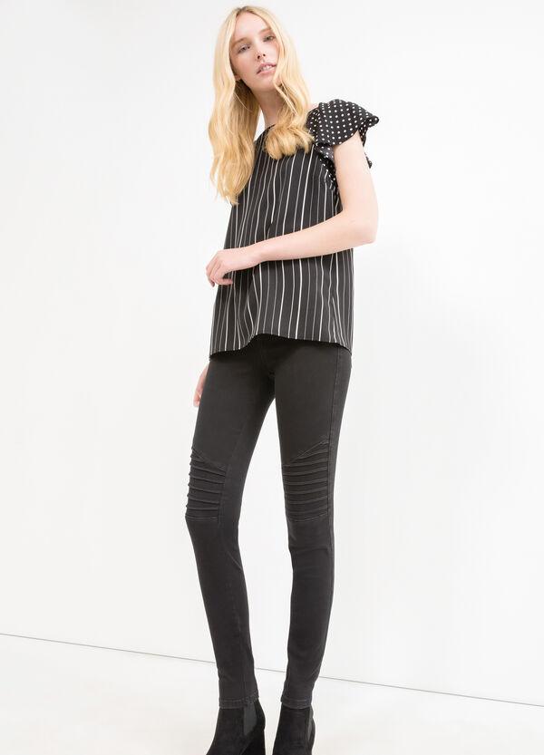 Blouse with raglan sleeves and stripes and polka dot print | OVS