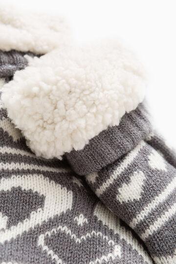 Fur slipper socks, White/Grey, hi-res