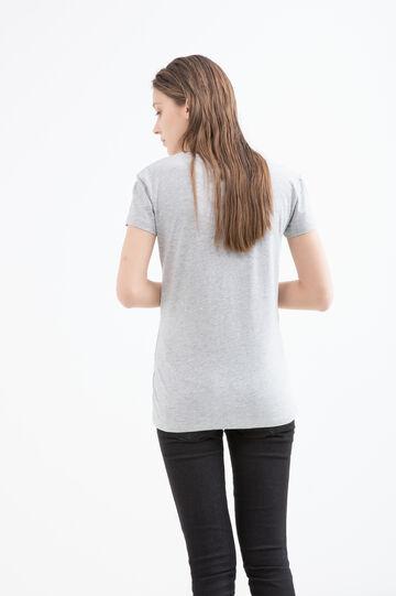 100% cotton T-shirt with cat print, Grey Marl, hi-res