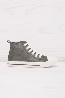 High-top sneakers with lurex and zip, Grey/Silver, hi-res