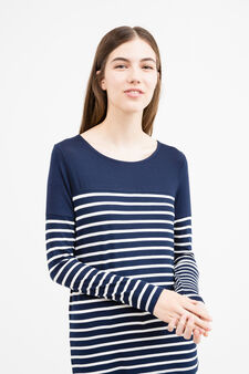 Long sleeved T-shirt with striped pattern, Navy Blue, hi-res