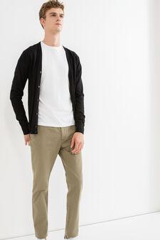Pantaloni chino regular fit puro cotone, Verde salvia, hi-res