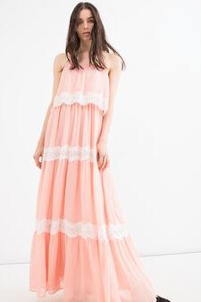 Sleeveless long dress with lace, Peach Orange, hi-res