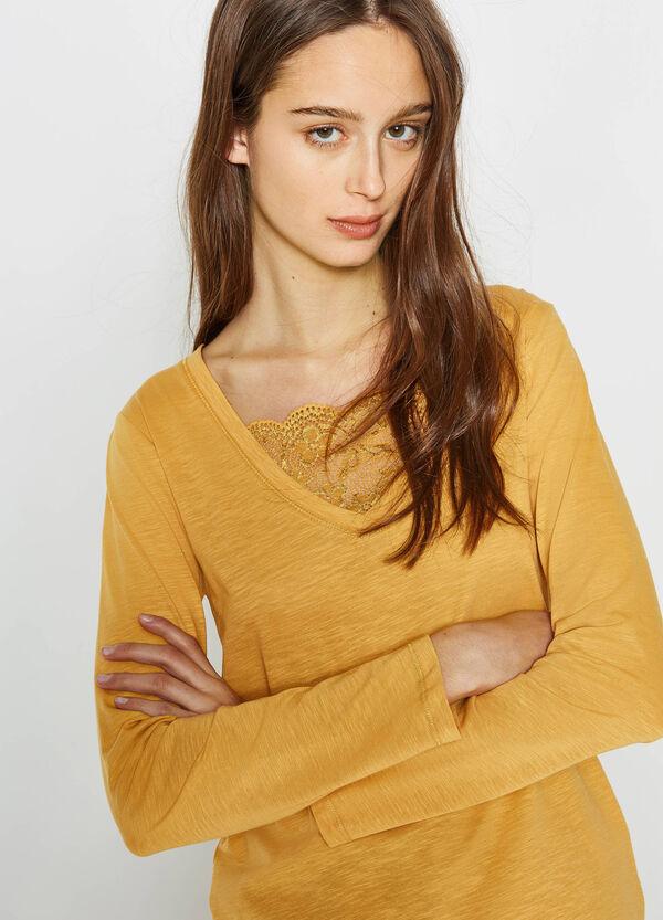 Camiseta de algodón con cuello de pico con encaje | OVS