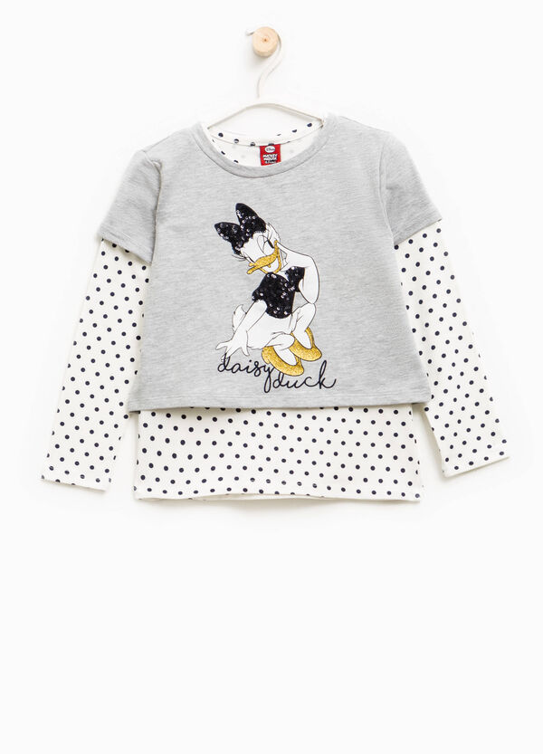 Crop Daisy Duck T-shirt with faux layering | OVS