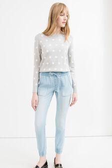 Jogging jeans with drawstring, Light Wash, hi-res