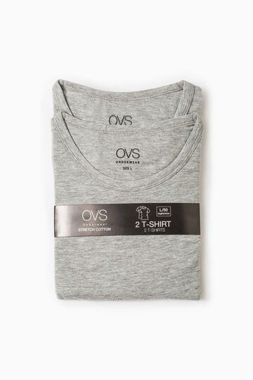 Two-pack cotton crew neck undershirts, Light Grey, hi-res