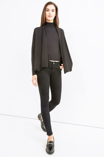 Solid colour viscose blend cardigan, Black, hi-res