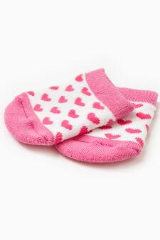 Set due paia di calze ricami e cuori, Rosa, hi-res
