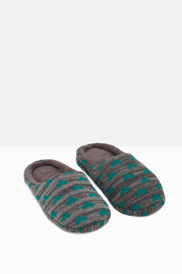 Knitted and striped slippers with print, Green/Grey, hi-res