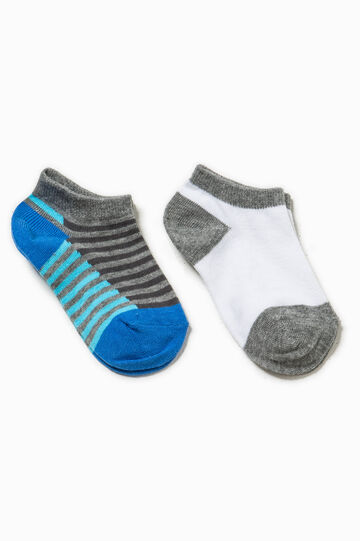 Two-pair pack short solid colour and striped socks, Grey/Blue, hi-res