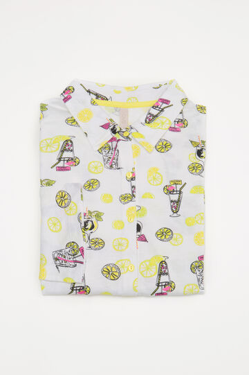 Printed cotton pyjama top, White, hi-res