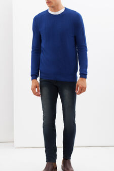 Round neck sweater, Royal Blue, hi-res