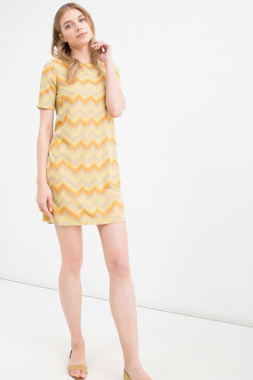 Striped short dress in viscose blend, Yellow, hi-res