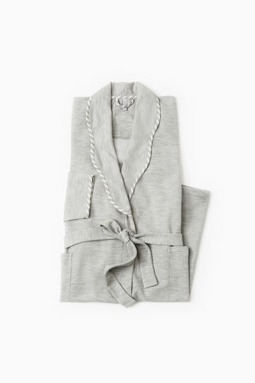 Cotton robe with double pocket, Grey Marl, hi-res
