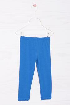 Pantaloni stretch cotone tinta unita, Blu, hi-res