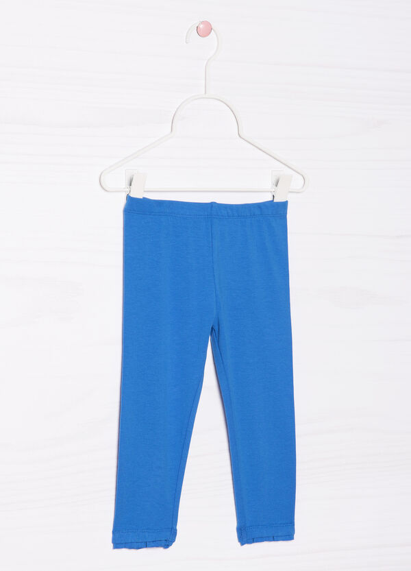 Solid colour 100% cotton stretch trousers | OVS