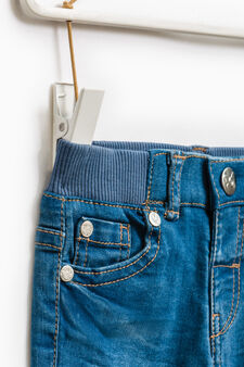 Faded stretch jeans with turn-ups, Denim, hi-res