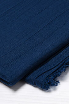 Solid colour fringed scarf, Blue, hi-res