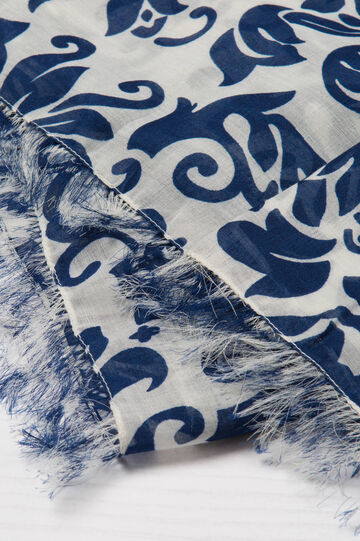 Scarf with fringed edges and print, Blue, hi-res
