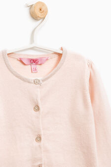 Cardigan with glitter heart print, Pink, hi-res