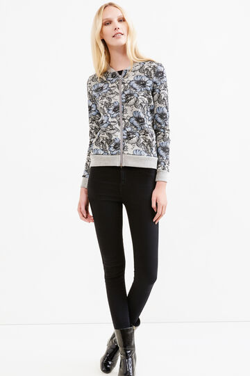 Flower print sweater with Minnie embroidery, Grey, hi-res